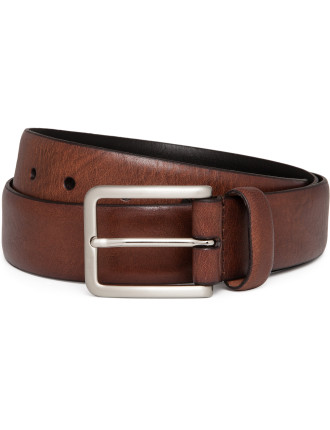 Textured Genuine Leather 35mm Pin Buckle Belt