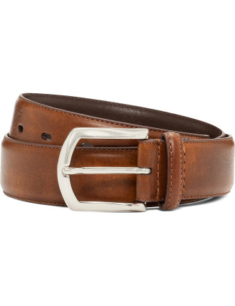 35mm Leather Strap With Polished Silver Buckle