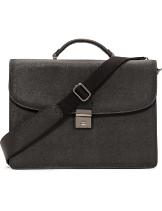 Double Gusset Briefcase In Saffiano Leather
