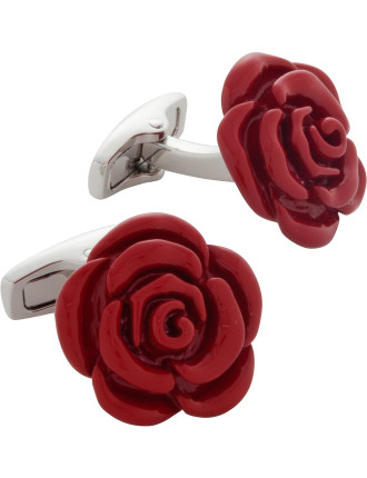 Red Rose Resin Cufflinks