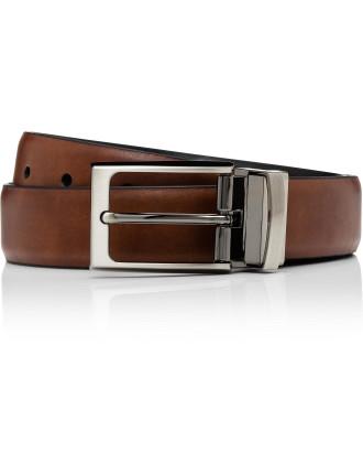 Reversible Pin Buckle Belt Brown/Navy