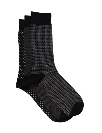 3 Pack Mini Geo Crew Sock