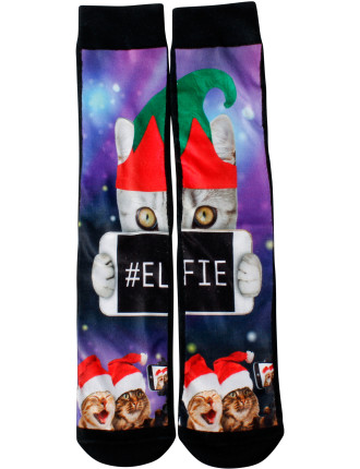ELFIE CAT PRINTED CREW SOCK