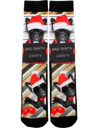 BAD SANTA TERRIER PRINTED SOCK
