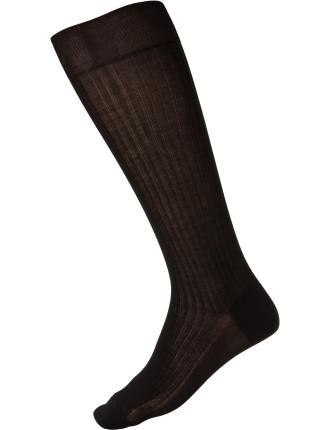 Cotton Rib Long Sock