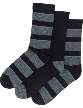 Thick Bold Stripe Comfort Crew Socks 3 Pack
