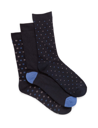 Square Box Comfort Crew Socks 3 Pack