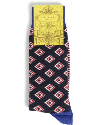 Geometric Diamond Organic Sock