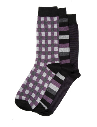 3 Pack Box And Stripe Business Crew Socks