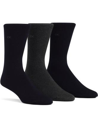 Combed Flat Knit Dress Sock Pack of Three