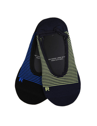 2 Pack Stripe Moss Footlet Socks