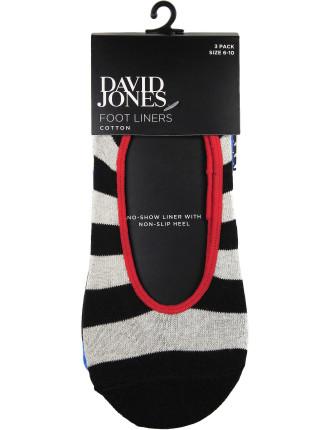 3 Pack Bold Stripe Footlet