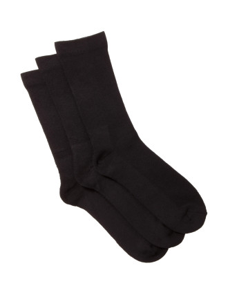Plain Comfort Crew Socks Pack of Three