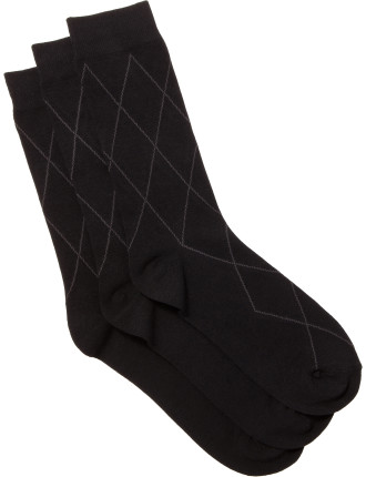 Argyle Business Crew Socks Pack of Three