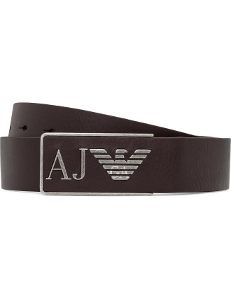 40mm Continuous Leather Plate Buckle W/ Logo Stamp