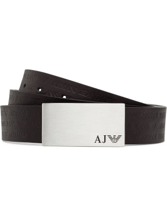 30m All Over Logo Stamped Plate Buckle Jean Belt