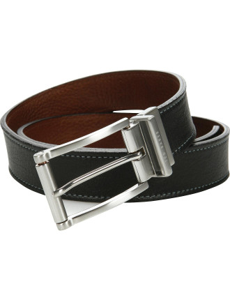 Pebbled Leather Reversale Smart Casual Belt W/ Stitch Detail