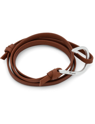 Silver Hook/Brown Leather Bracelet