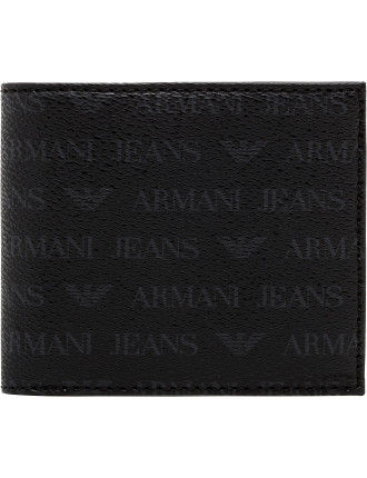 logo printed leather 4cc billfold w/ coin pouch