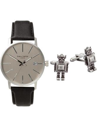 Light grey watch with antiqued robot cufflinks