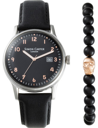 Black watch with rose gold detail and onyx bead bracelet