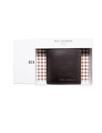 Booklet Trifold Leather Wallet with ID Window and Coin Pouch