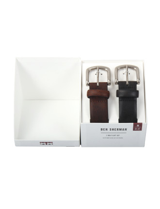 Two Pin Buckle Casual Belt Brown and Black Gift Pack