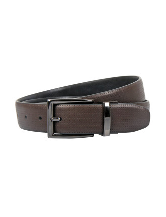 Gun Metal finish pin buckle reversible strap.