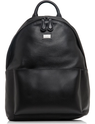 Leather Backpack W/ Logo Plate