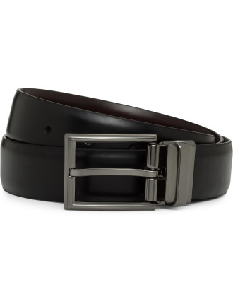 Reversible Gloss Gunmetal Pin Buckle Belt