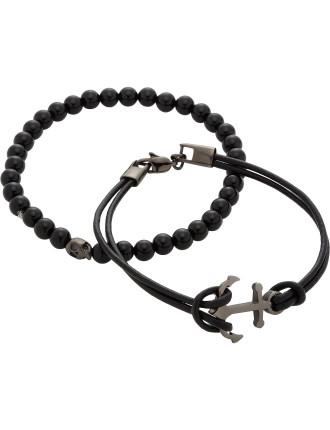 Double Bracelet Set Onyx Skull Bead Black Leather Anchor
