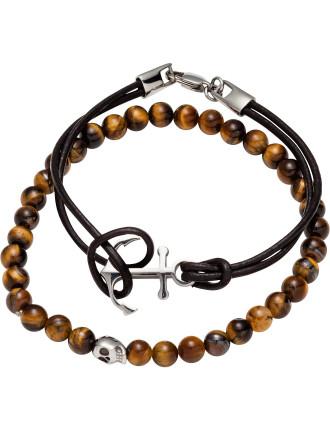 Double Bracelet Set W Tigerseye Skull Bead Brn Anchor