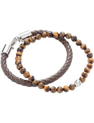 Double Bracelet Set Tigerseye Skull Bead Brn Leather