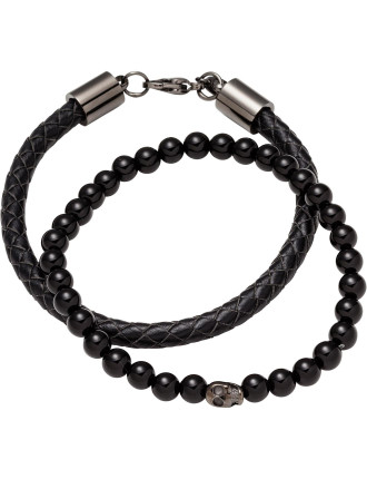 Double Bracelet Set Onyx Gunmetal Skull Bead Black Leather