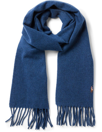 Signature Woven Italian Virgin Wool Scarf W/ Fringing