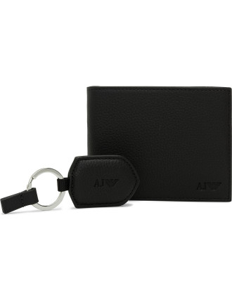 Q7 Pebbled Calf Leather Wallet & Key Ring Gift Pack