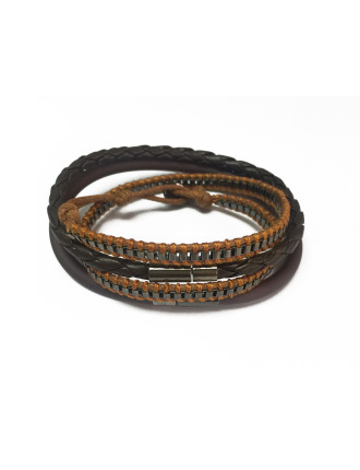 WRAP, SILICONE AND METAL CHAIN 3PCS BRACELET