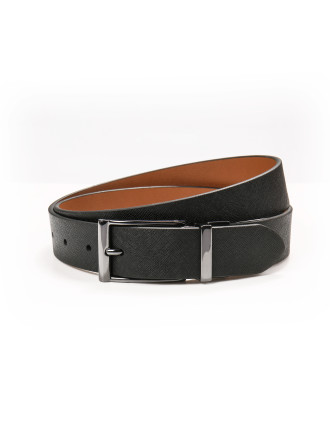 Pin Gunmetal Buckle Reversible Textrued Finished Belt