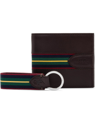Striped O Ring Web Belt & Grosgrain Billfold