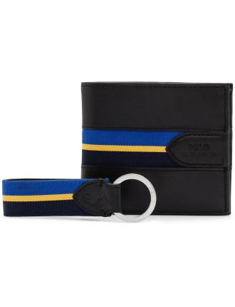 Striped O Ring Web Belt & Grosgrain Billfold
