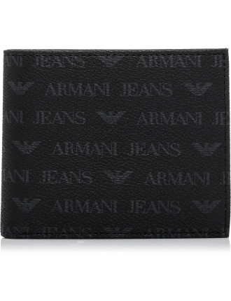J4 Eco leather all over logo print 16cc billfold