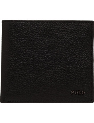 Pebbled Leather 8cc Billfold W/ Metal Logo