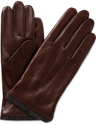 TOUCH NAPPA LEATHER GLOVE W EXPOSED WOOL