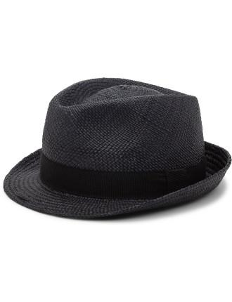 Straw Fedora Hat W/ Slim Brim And Grow Grain Band