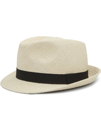 Straw Fedora Hat W/ Slim Brim And Grow Grain Band