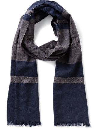 Horizontal Stripe Birdseye Stitch Woven 100% Wool Scarf