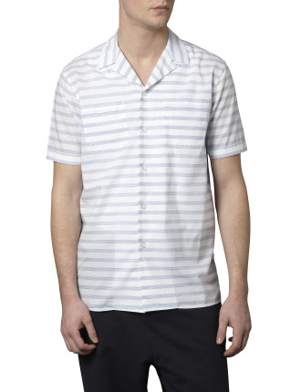 Short Sleeve Frank A Fine Stripe Shirt