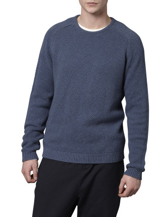 Long Sleeve Crew Neck Patch Pocket Detail Knit