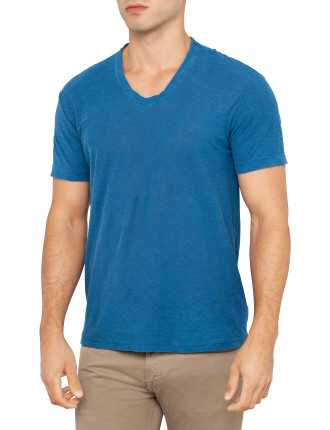 Short Sleeve Slub Jersey Soft V-Neck Tee