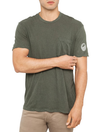 Short Sleeve Linen Blend Surf-Rider Crew Neck Tee
